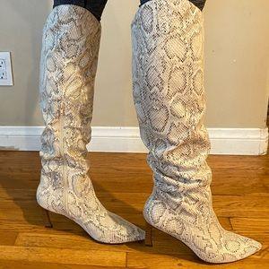 Mi.iM Beige Jazel Snake Print High Boots Size 9